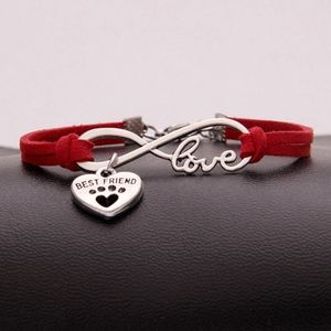 Jewelry - Puppy Dog Paw BEST FRIEND Red Leather Bracelet
